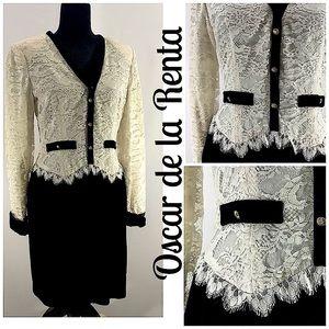 OSCAR DE LA RENTA VTG Black Ivory Lace Dress 10